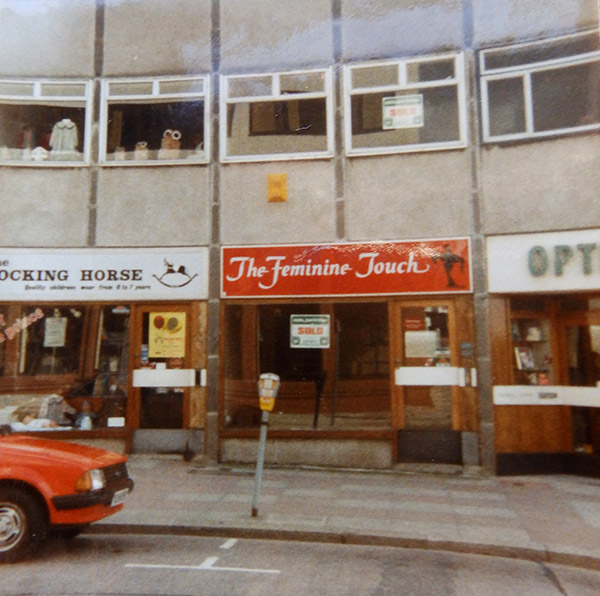 Shop front of The Feminine Touch circa 1984