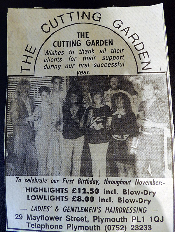 Original Cutting Garden advert circa 1984
